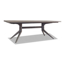 Brownstone Furniture Palmer Rectangular Trestle Dining Table - The Palmer collection is a unique assortment of richly grained teak tables with a sandblasted, driftwood gray finish. Each piece of the collection is carefully designed with updated silhouettes that embody subtle refinement.