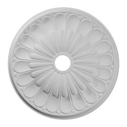 """Ekena Millwork - 26 3/4""""OD x 3 5/8""""ID x 1 3/8""""P Elsinore Ceiling Medallion - 26 3/4""""OD x 3 5/8""""ID x 1 3/8""""P Elsinore Ceiling Medallion. Our ceiling medallion collections are modeled after original historical patterns and designs. Our artisans then hand carve an original piece. Being hand carved each piece is richly detailed with deep relief, sharp lines, and a truly unique touch. That master piece is then used to create a mould master. Once the mould master is created we use our high density urethane foam to form each medallion. The finished look is a beautifully detailed, light weight, solid construction, focal piece. The resemblance to original plaster medallions is achieved only by using our high density urethane and not vacuum formed, """"plastic"""" type medallions. - Medallions can be cut using standard woodworking tools to add a hole for electrical or a ceiling fan canopy. - Medallions are light weight for easy installation. - They are fully primed and ready for your paint. If you have any questions feel free to ask. These are in stock and available for immediate shipment."""