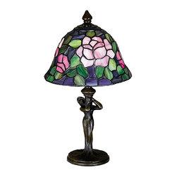 Meyda Tiffany - Rosebush Mini Table Lamp - Requires one 40 watt candelabra type bulb. Tiffany floral style. Unique and handcrafted. Petal pink, romantic red and plum passion art glass roses on a maze of garden green leaves. Base in mahogany bronze color. Shade in purple, blue and burgundy color. Shade: 8 in. Dia. x 5 in. H. Overall: 8 in. Dia. x 12 in. H. Care InstructionsNatural variations, in the wide array of materials that use to create each product, make every item a masterpiece of its own.