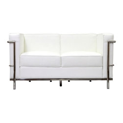Modway Furniture - Modway Charles Petite Leather Loveseat in White - Petite Leather Loveseat in White belongs to Charles Collection by Modway Urban life has always a quandary for designers. While the torrent of external stimuli surrounds, the designer is vested with the task of introducing calm to the scene. From out of the surging wave of progress, the most talented can fashion a forcefield of tranquility. Perhaps the most telling aspect of the Charles series is how it painted the future world of progress. The coming technological era, like the externalized tubular steel frame, was intended to support and assist human endeavor. While the aesthetic rationalism of the padded leather seats foretold a period that would try to make sense of this growth. The result is an iconic sofa series that became the first to develop a new plan for modern living. If previous generations were interested in leaving the countryside for the cities, today it is very much the opposite. If given the choice, the younger generations would rather live freely while firmly seated in the clamorous heart of urbanism. The Charles series is the preferred choice for reception areas, living rooms, hotels, resorts, restaurants and other lounge spaces. Set Includes: One - Le Corbusier LC2 Loveseat Loveseat (1)