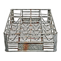 Coca-Cola Bottle Carrier - Rare vintage 1950's Coca-Cola galvanized wire bottle crate.