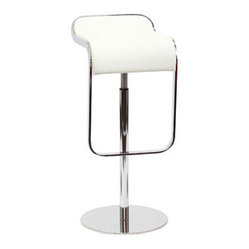 LEM Style Piston Bar Stool in White Genuine Leather