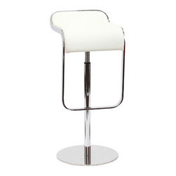 "LexMod - LEM Leather Bar Stool in White - LEM Leather Bar Stool in White - The LEM Style Bar Stool has sleek lines that would be equally impressive in a restaurant or at home. Our premium version has a high quality Italian leather seat. Perfect for entertaining guests at restaurants, your home bar, or for stylish seating around the kitchen counter. Set Includes: One - LEM Bar Stool Italian Leather Upholstery, Stainless steel base, Chrome plated steel piston, Adjustable Height from 27"" - 31"", 360 Degree Swivel Overall Product Dimensions: 14""L x 16""W x 28.5 - 33""H Seat Height: 13""L x 16""W x 27 - 31.5""Hbrase Dimensions: 14.5""L x 14.5""W - Mid Century Modern Furniture."