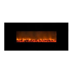 Yosemite Home Decor Carbon Flame 58 Wall Mount Electric Fireplace - Heat up your modern space with the stylish Yosemite Home Decor Carbon Flame 58 Wall Mount Electric Fireplace. This Wall Mounted fireplace features flames with a patented pattern that imitates real flames and works with or without heat. The handy remote control means you can turn it on or off across the room and its sleek black glass surface and easy installation make it perfect. About Yosemite Home DecorYosemite Home Decor has set out to become the leader in lighting and unique home products. This company is based in the Central Valley of Fresno California and was founded in 1983. From premier lighting fixtures to modern fireplaces, bathroom vanities to fountains, Yosemite offers quality products guaranteed to beautifully transform your space.