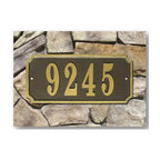 "Qualarc, Inc. - Waterford Rectangle Cast Aluminum Address Plaque, Black w/Gold Border - Powder coated aluminum address plaques have a gold border and can fit up to five 4"" gold aluminum numbers. 4"" gold cast aluminum are numbers included. Usually ships within 5 business days. Dimensions: 13"" x 6"" x 0.5"""
