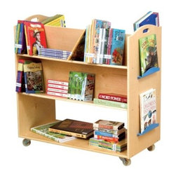Guidecraft School Library Cart - The Guidecraft School Library Cart is a great choice for classrooms, libraries, or your big reader's room. This cart is made of durable Baltic birch wood with a natural finish. It features heavy-duty casters and sanded handhold cutouts for smooth rolling convenience. This rolling cart is divided down the center with four angled shelves at the top and a large, flat bottom shelf. It even has small blue shelves at the end cap to show off favorite books. Some assembly is required. Make sure your kids always have books close by.About GuidecraftGuidecraft was founded in 1964 in a small woodshop, producing 10 items. Today, Guidecraft's line includes over 160 educational toys and furnishings. The company's size has changed, but their mission remains the same; stay true to the tradition of smart, beautifully crafted wood products, which allow children's minds and imaginations room to truly wonder and grow.Guidecraft plans to continue far into the future with what they do best, while always giving their loyal customers what they have come to expect: expert quality, excellent service, and an ever-growing collection of creativity-inspiring products for children.