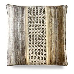 "Aztec Border Outdoor Pillow - 22"" - Adding new pillows are a decorators best kept secret to updating the look of a space fantastically with minimal effort. The Aztec Border Outdoor Pillow is both gorgeous and unique. Made for your outdoor areas, this decorative touch is reminiscent of the surrounding trees yet has an elegant, dainty midsection of laced string that give a fantastically different appeal to it that is sure to catch the attention of your guests."