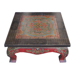 Golden Lotus - Square Tibetan Lotus Hand Paint Coffee Table - Look at this square coffee table which is made of solid elm wood.  Especially, the table around come with very detail lotus hand painting on it.
