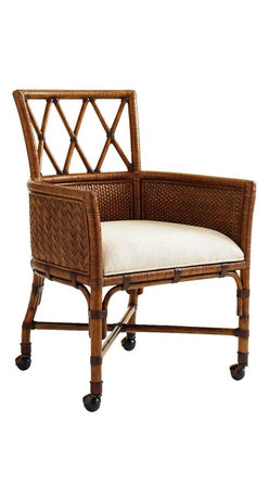 Lexington - Tommy Bahama Home Bali Hai Tarpon Cove Game Chair - The game chair features a leather wrapped rattan base with a split rattan wrapped frame. Its outside arms and back feature a herringbone pattern of woven rattan. Antique brass ferrules and casters complete the look. The standard fabric is Sailcloth, which features a tight linen weave construction in an ivory and gold coloration.