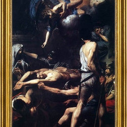 """Valentin De boulogne-16""""x24"""" Framed Canvas - 16"""" x 24"""" Valentin De boulogne Martyrdom of St Processus and St Martinian framed premium canvas print reproduced to meet museum quality standards. Our museum quality canvas prints are produced using high-precision print technology for a more accurate reproduction printed on high quality canvas with fade-resistant, archival inks. Our progressive business model allows us to offer works of art to you at the best wholesale pricing, significantly less than art gallery prices, affordable to all. This artwork is hand stretched onto wooden stretcher bars, then mounted into our 3"""" wide gold finish frame with black panel by one of our expert framers. Our framed canvas print comes with hardware, ready to hang on your wall.  We present a comprehensive collection of exceptional canvas art reproductions by Valentin De boulogne."""