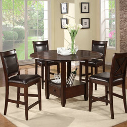 None - American Lifestyles 'Monroe' Espresso Counter Height Chairs (Set of 2) - These Monroe counter-height chairs from American Lifestyles highlight a solid rubberwood and birch veneer construction in an espresso finish. These transitional chairs are furnished with a rich faux leather upholstery.