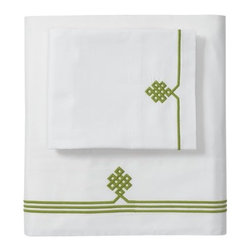 Serena & Lily - Grass Gobi Embroidered Sheet Set - Our not-so-basic white sheets make a great foundation for layering color and pattern throughout the room -- think of them as classics with a twist. Smooth sateen makes them wonderfully comfortable, too. An ancient Buddhist motif, representing the endless knot of wisdom, is embroidered in grass on the flat sheet and cases.