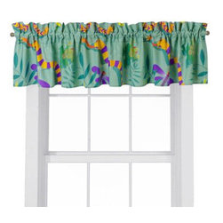 "Room Magic - Little Lizards Window Valance - Our Little Lizards window valance coordinates with the bedding fabric, knobs and accessories to make the room theme complete. Designer print is crawling lizards, snakes frogs and dragonflies.15""H x 59"" W."
