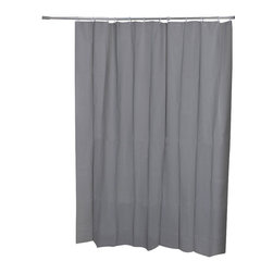 Eva Shower Curtain Grey - This curtain for bathrooms is mainly in Eva (75 % Eva and 25 % polyethylene). This neutral tone shower curtain lends a touch of elegance and style to your bathroom. Reinforced grommets and header along the top make it durable enough for long-lasting satisfaction (12 shower rings needed, sold separately). Prior to hanging, immerse curtain in a bath of warm water to help remove creases. Cleaning with soapy water only. Width 71-Inch and height 79-Inch. Color solid grey. This shower curtain is the perfect blend of simplicity and perfect to add a decorative touch in your bathroom! Complete your decoration with other products of the same collection. Imported.