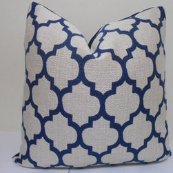 Navy Blue Casablanca Pillow by Zourra Designs - I use a lot of pillows to add interest to a design. I prefer to mix patterns and scales to draw your eye to the sofa and make it a focal point in the room.
