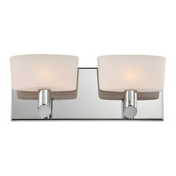 "Lamps Plus - Contemporary Alico Toby 13 1/2"" Wide Chrome Bathroom Light - This gleaming chrome bathroom wall light is a remarkable modern design that's sure to dazzle your decor. The rectangle chrome wallplate and truncated rod arms hold aloft two beautiful pillow shape white opal glass shades. Give your bathroom a soft attractive glow with this delightful design from Alico. Two-light bath fixture. Chrome finish metal. White opal glass. Includes two 60 watt G9 bulbs. 13 1/2"" wide. 5"" high. Extends 4"". ADA compliant.  Two-light bath fixture.   Chrome finish metal.   White opal glass.   Includes two 60 watt G9 bulbs.    13 1/2"" wide.   5"" high.   Extends 4"".   ADA compliant."
