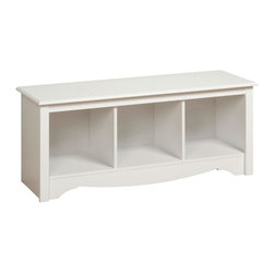 Prepac Monterey Cubbie Bench - I think this is perfect for the foot of a bed or for a playroom.