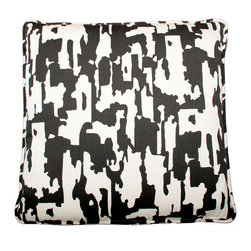 Designer Fluff - Melting Pot Pillow, 15x25 - Pillow or work of art? You decide. The striking black and white design adorns both sides and is matched at the seams, so the pattern is continuous. A concealed zipper keeps the feather/down insert in place, so nothing detracts from the fabric's graphic appeal.