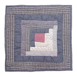 Patch Quilts - Sail Log Cabin Toss Pillow 16 x 16 Inch - Decorative patchwork quilted pillow  - Accents with ensembles and bedding items from Patch Magic   - Machine washable  - Line or Flat dry only Patch Quilts - TPSLC