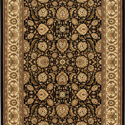 """Orian - Orian American Heirloom Farran (Black) 7'10"""" x 10'10"""" Rug - American Heirloom Collection, Orian Rugs' flagship collection is inspired by classic, hand-woven oriental rugs that combine understated elegance with classic style. The 1.5 million point design construction is densely woven with Orian's finest-denier yarns creating unparalleled visual dimension and pin point design clarity."""