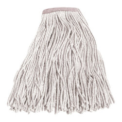 """UNISAN - #16 Cotton Mop Head - Four-ply, cut-end yarn. Absorbent natural cotton fiber for general mopping. Rayon has immediate absorbency and wet release properties ideal for finishing. Cotton/synthetic blend absorbs 5.5 times its weight in water. Standard heads use clamp style mop handles; saddleback heads use clamp or gripper style handles; lie flat heads use lie flat screw-in handles (all sold separately). 12 mop heads per case. Value Standard Head. Cotton #16. High-quality fiber. 1 1/4"""" polyester headband."""