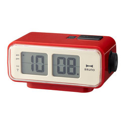 IDEA International - Retro Digital Flip Clock Small - Red - The timeless flip clock made DIGITAL! This compact alarm clock is perfect for any nightstand and illuminates with the push of a button. The battery powered clock comes in three different colorways, all have a sense of nostalgia. Fully digital, the changing of the time mimics an old flip clock.