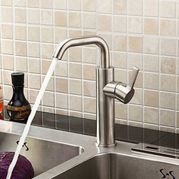 Kitchen Sink Faucets - Brushed Chrome Finish Stainless Steel Contemporary Kitchen Faucet--FaucetSuperDeal.com