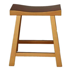 """Golden Lotus - Golden Yellow Chinese Hand Made Elm Wood U Shape Stool - • Dimensions: : 17.5""""Wx8.5""""Dx20.5""""H"""