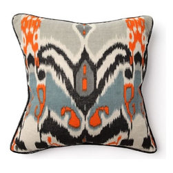 "Villa Home - African Mod 18"" Ikat Print Pillow - Features: -Pillow cover material: 100% Linen. -Pillow insert material: 95% Feather / 5% down - 100% cotton cover. -Print front and back, black patent piping. -Dimensions: 18"" W x 18"" D, 1 lb."