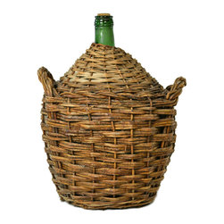 Lavish Shoestring - Consigned Wicker Cased Glass Transportation Wine Bottle, Antique English, circa - This is a vintage one-of-a-kind item.