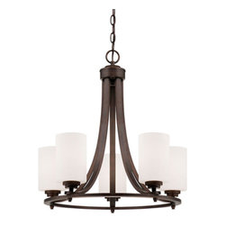 Millennium Lighting - Bristo Rubbed Bronze Five Light Chandelier with Etched White Glass - - Chandelier Ceiling Light  - Bulb not included  - Length of Chain: 5 Ft.  - Length of Wire: 10 Ft.  - Finish Glass: Etched White Glass Millennium Lighting - 7255-RBZ