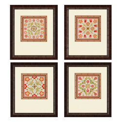 Paragon - Floral Folk Tiles PK/4 - Framed Art - Each product is custom made upon order so there might be small variations from the picture displayed. No two pieces are exactly alike.