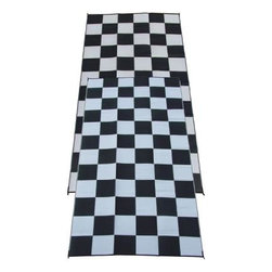 Fireside Patio Mats - Indoor/Outdoor Floor Mat: Racing Checks Black and White Checkered Flag 9' x 18' - Shop for Flooring at The Home Depot. Fireside Racing Checks 108 in. x 216 in. Reversible Patio Mat comes in a Black and White color combination and checkered pattern. This mat is large enough to comfortably sit 8 to 10 adults. Fireside reversible RV / Patio Mats will add a touch of elegance to your deck or patio. These high quality Polypropylene (plastic) mats are reversible with a complimentary pattern on the opposite side. You get two patterns for one low price. Fireside Patio Mats are lightweight and compact when folded so they are easy to travel with and easy to store. All of our Fireside indoor/outdoor reversible patio mats are stain and fade resistant and clean up is a breeze. Simply rinse your mat with a garden hose and allow to air dry. Fireside reversible patio mats have corner tie-down loops to stake the mat to the ground in windy conditions (tent stakes sold separately). Use our lightweight, reversible patio mats to spruce up a tired old deck or patio, while camping or RVing, on the beach, by the pool, for picnics, at car races, while tailgating, in the backyard or in the playroom or recreation room. Whether you call them RV mats, RV awning mats or simply patio mats, Fireside Patio Mats offers high quality reversible mats that are simply gorgeous and functional.