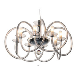 """Inviting Home - Modern Crystal Glass Chandelier - modern style crystal chandelier with twisted crystal glass arms; 30"""" x 18""""H (32 lights); assembly required; 8 light modern crystal chandelier with hand-drawn crystal glass arms twisted in space and cut crystal pendant; all metal parts are chromium plated; genuine Czech crystal; * ready to ship in 2 to 3 weeks; * assembly required; Lighting Vogue Chandeliers. The state-of-the-art techniques for working glass components enable us to create modern shapes typical of the contemporary lighting fixtures' design. Their body consists of plain mouth-blown components such as spatially shaped twisted and hand-decorated tubes or furnace-molded hooks. Design lighting fixtures based on the purity of execution and simple shapes are particularly suitable for illuminating all modern interiors. These chandeliers are manufactured using oxygen fuel technology. Only few manufacturers in Europe that use oxygen fuel technology. This allows for better control and manage the preparation process of glass. The result is impeccably pure glass of highest quality with minimal amount of visual irregularities. Every component passes thorough strict internal Quality Control processes. Highest quality European production with certified standards. UL approved - dry location; hardwire; 8x E12/14 - 40W bulbs; bulbs not included. 3 to 4 feet chain drop provided. Hand crafted in Czech Republic."""