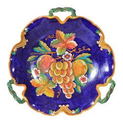 Ceramic - Deruta Uva Fresca Fruit 3 Handle Platter - Deruta Uva Fresca Fruit 3 Handle Platter