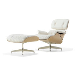 """Herman Miller - Herman Miller Eames Lounge Chair and Ottoman, White Ash - The authentic, timeless designs of the Eames Lounge Chair and Ottoman, so well-known in their black leather incarnation, are now also available in a whiter shade of leather and a pale ash wood. This stunning version of an Eames classic has a light, airy look, perfect for today's interiors. The shell is a white ash veneer that's finished with a process that maintains the wood in its natural, """"freshly cut"""" state—a creamy white that resists yellowing. Herman Miller even updated the base with a white finish."""