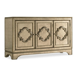 """Hooker Furniture - Hooker Furniture Melange City Lights Console - Come closer to Melange, and you will discover something unexpected, an eclectic blending of colors, textures and materials in a vibrant collection of one-of-a-kind artistic pieces. Poplar and Hardwood Solids with Antique Mirror. Dimensions: 58""""W x 18""""D x 34""""H."""