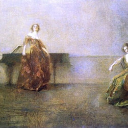 """Thomas Wilmer Dewing The Song and the Cello - 16"""" x 24"""" Premium Archival Print - 16"""" x 24"""" Thomas Wilmer Dewing The Song and the Cello premium archival print reproduced to meet museum quality standards. Our museum quality archival prints are produced using high-precision print technology for a more accurate reproduction printed on high quality, heavyweight matte presentation paper with fade-resistant, archival inks. Our progressive business model allows us to offer works of art to you at the best wholesale pricing, significantly less than art gallery prices, affordable to all. This line of artwork is produced with extra white border space (if you choose to have it framed, for your framer to work with to frame properly or utilize a larger mat and/or frame).  We present a comprehensive collection of exceptional art reproductions byThomas Wilmer Dewing."""
