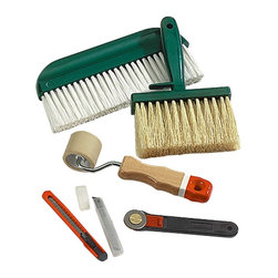 Renovators Supply - Wallpaper Tools Wallpaper Tool Kit - Wallpaper Tools. Complete wallpaper tool kit. This set includes a soft seam roller, trimming wheel, trimming knife, 5 in. paste brush, 9 in. paperhanging brush and a package of 10 extra blades.