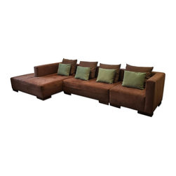 Maurice Villency Microsuede Dark Brown Sectional With Custom Pillows - Retail Price:$10000