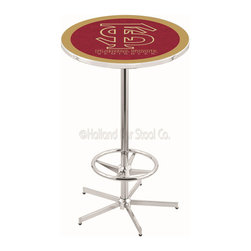 Holland Bar Stool - Holland Bar Stool L216 - 42 Inch Chrome Florida State (Script) Pub Table - L216 - 42 Inch Chrome Florida State (Script) Pub Table  belongs to College Collection by Holland Bar Stool Made for the ultimate sports fan, impress your buddies with this knockout from Holland Bar Stool. This L216 Florida State (Script) table with retro inspried base provides a quality piece to for your Man Cave. You can't find a higher quality logo table on the market. The plating grade steel used to build the frame ensures it will withstand the abuse of the rowdiest of friends for years to come. The structure is triple chrome plated to ensure a rich, sleek, long lasting finish. If you're finishing your bar or game room, do it right with a table from Holland Bar Stool.  Pub Table (1)