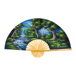 "Oriental Furniture - Asian Forest Fan - 40"" - This large, handcrafted wall fan is made from split bamboo and sateen fabricm, and hand-painted with a traditional Thai art motif. Our Asian Forest design features a lush forest, mountain skyline, and waterfall in cool shades of blue and green.  It makes a colorful Oriental accent for the home or office."