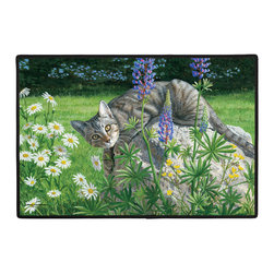 310-Fiona Cat Doormat - 100% Polyester face, permanently dye printed & fade resistant, nonskid rubber backing, durable polypropylene web trim. Use on the porch or near your back entrance to the house. Indoor and outdoor compatible rugs that stand up to heavy use and weather effects