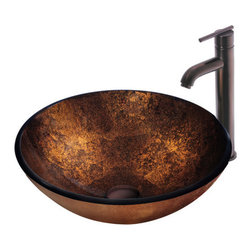 "Vigo - Vigo VGT128 Oil Rubbed bronze Vessel Sink and Faucet Combos Russet - Vigo Russet Handmade Glass Vessel Sink and Vigo 3009 Faucet This ""Russet"" Vigo glass vessel sink and faucet set is a masterpiece of its own. Durability, design and style put this set on another level.  Handmade with possible unique variations, so no two sinks are identical Solid tempered glass construction Scratch-resistant glass Non-porous surface prevents discoloration and fading Stain-resistant, easy-to-clean surface Polished glass interior with textured exterior Above-counter installation Diameter: 16 1/2"" Height: 6"" Glass thickness: 1/2"" 1 1/2"" standard drain opening Solid brass faucet in oil rubbed bronze finish ensures durability and longer life High-quality ceramic disc cartridge ensures maintenance-free use Mineral-resistant nozzle is easy-to-clean Vigo finishes resist corrosion and tarnishing, exceeding industry durability standards Easy single-hole installation Modern single lever for water and temperature control All mounting hardware and hot/cold waterlines included Water pressure tested for industry standard Standard US plumbing 3/8"" connections"
