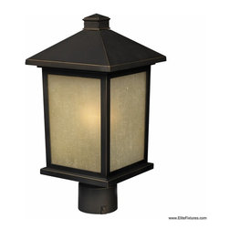 Z-Lite - Z-Lite 507PHM-ORB Holbrook 1 Light Post Light & Accessories in Oil Rubbed Bronze - The solid, timeless styling of this medium outdoor post-head makes this a versatile fixture, suiting both traditional and modern styles.  Warm tinted seedy glass panels are paired with a finish of oil rubbed bronze, to create a very inviting look. Made of cast aluminum, this fixture is made to endure nature, regardless of the season.