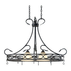 Kenroy Home - Kenroy 91562RBRZ Countryside 2 Light Pot Rack - Subtle curves and thick hammered leaf details bring this family its cottage charm.  An amber toned glass shade with a petal-like texture, blends casual with formal, making Countryside truly versatile.