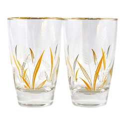 "Libbey Glass - Adonis Collection | Vintage ""Wheat"" tumblers - Mix and match your glassware and buy one or more pairs of these delightful vintage pieces! Pair of 10 oz. tumblers in the ""Wheat"" pattern, with gold-tone rim.  4.75"" high, 2.75"" diameter, 1.75"" base.  ""Wheat"" was introduced in 1964.  Fine condition, note some patina wear from usage."