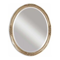 Uttermost - Uttermost Newport Oval Silver Traditional Mirror X-B 56580 - Oval mirror features a frame with an antique silver leaf finish and heavy gray glaze. Mirror is beveled.