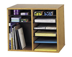 Safco - 12 Compartment Adjustable Literature Organizer in Medium Oak Finish - You will love the stylishly compact design of this literature organizer. Fits neatly on your desk or table top to save on space, while 12 compartments provide ample storage for binders, papers, and other office supplies. Features an oak finish to easily accent any decor. Includes ten shelves. Twelve letter-size compartments. The design of the adjustable organizer is perfect for desktop storage. Back made from solid fiberboard. Shelves made from hardboard. Made from furniture grade particleboard. Compartment Capacity: 15 lbs.. Material Thickness: 0.5 in.. Compartment Size: 9 in. W x 11.5 in. D x 2.38 in. H. Overall: 19.5 in. W x 12 in. D x 16 in. H  (19 lbs.). Assembly InstructionGet organized with a modern design that works great in every workspace. Use to organize literature, brochures, pamphlets, office paper, envelopes, shipping boxes, books, binders and other work place documents and supplies. Keep all your paper organized in your office, mail room, storage area, supply room, library, classroom, lounge area, media center, training room, reception desk or print shop.