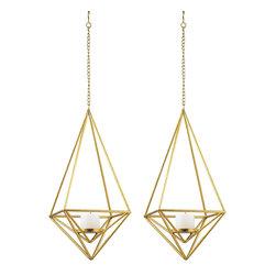Gold Pillar Candlelight Pendants, Set of 2 - *Dimensions: 10L x 10W x 22H